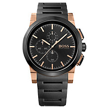 Buy BOSS Men's Neo Chrono Silicone Strap Watch, Black Online at johnlewis.com
