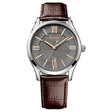 Buy BOSS Men's Ambassador Analogue Leather Strap Watch Online at johnlewis.com