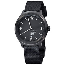 Buy Mondaine MH1B1221NB Unisex Helvetica No 1 Bold 43mm Nylon Strap Watch, Black Online at johnlewis.com