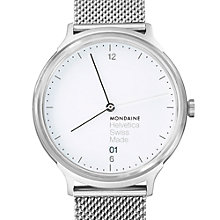 Buy Mondaine Mh1.r2210.sm Unisex Helvetica Mesh Strap Watch, Silver Online at johnlewis.com