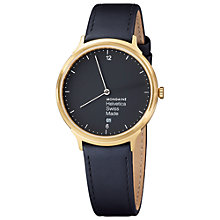 Buy Mondaine Mh1.l2221.lb Unisex Helvetica Leather Strap Watch, Gold/Black Online at johnlewis.com