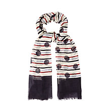 Buy White Stuff Wool Spot On Stripe Scarf, White Online at johnlewis.com