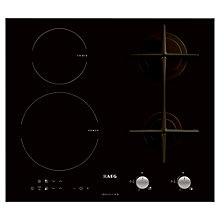 Buy AEG HD634170NB Gas and Induction Hob, Black Glass Online at johnlewis.com