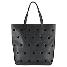 Buy Jigsaw Phoebe Polka Dot Leather Tote Bag, Black Online at johnlewis.com