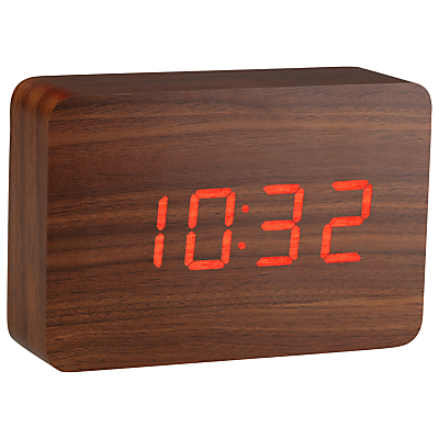 Click Clock The Brick LED Alarm Clock Walnut Red