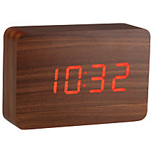 Buy Click Clock The Brick LED Alarm Clock, Walnut Red Online at johnlewis.com