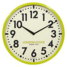 Buy London Clock Company Retro Wall Clock, Lime, Dia.50cm Online at johnlewis.com