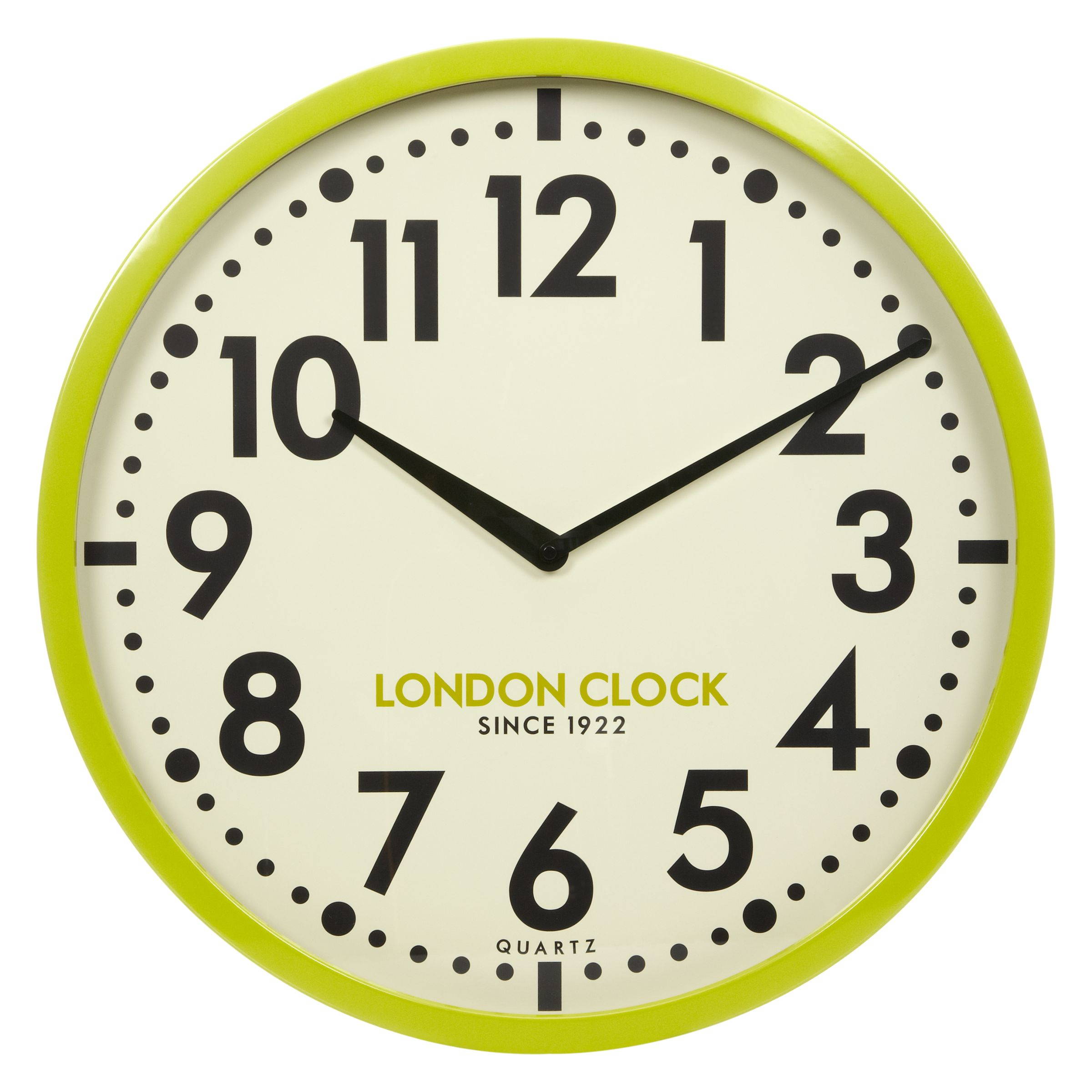 London Clock Company London Clock Company Retro Wall Clock, Lime, Dia.50cm