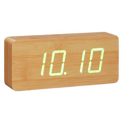 Image of Click Clock Slab Green LED Alarm Clock, Beech