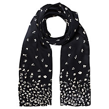 Buy Jigsaw Falling Flower Print Silk Scarf, Navy Online at johnlewis.com