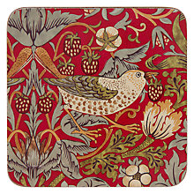Buy William Morris Strawberry Thief Coasters, Red, Set of 6 Online at johnlewis.com