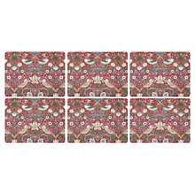 Buy Sanderson for Pimpernel Strawberry Thief Placemats, Red, Set of 6 Online at johnlewis.com
