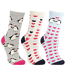 Buy John Lewis Penguin Ankle Socks, Pink/Grey, 3 Pack Online at johnlewis.com