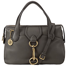 Buy DKNY Crosby Leash Leather Satchel, Grey Online at johnlewis.com