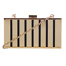Buy COLLECTION by John Lewis Box Clutch Bag, Gold/Black Online at johnlewis.com