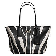 Buy Coach Taxi Zip Leather Tote Bag, Black/White Online at johnlewis.com