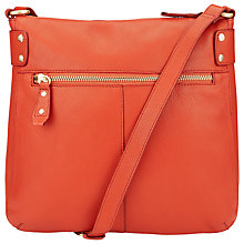 Buy COLLECTION by John Lewis Leather Carlyle Large Across Body Bag, Orange Online at johnlewis.com