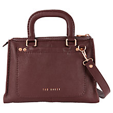 Buy Ted Baker Hickory Stitch Leather Shoulder Bag, Dark Brown Online at johnlewis.com