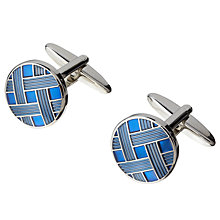 Buy John Lewis Round Weave Cufflinks, Blue Online at johnlewis.com