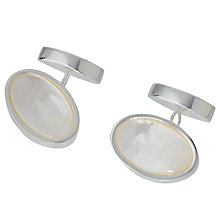 Buy John Lewis Silver Plated Mother of Pearl Oval Chain Cufflinks, Mother of Pearl Online at johnlewis.com