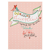 Buy Rachel Ellen Birds Wedding Acceptance Card Online at johnlewis.com
