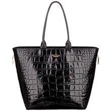 Buy Modula Oxford Leather Small Shopper Bag, Black Croc Online at johnlewis.com