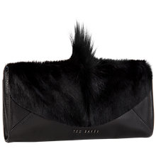 Buy Ted Baker Moti Springbok Leather Clutch Bag, Black Online at johnlewis.com