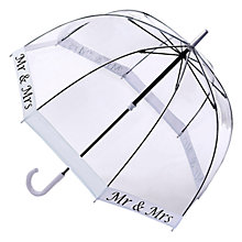Buy Fulton Mr & Mrs Transparent Birdcage Umbrella, Clear/Silver Online at johnlewis.com