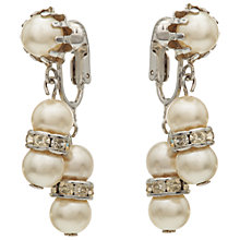 Buy Susan Caplan Vintage 1950s Coro Silver Plated Faux Pearl Drop Clip-On Earrings, Silver Online at johnlewis.com
