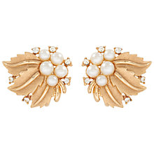 Buy Susan Caplan Vintage 1950s Trifari Gold Plated Faux Pearl Swarovski Crystal Clip-On Leaf Earrings, Gold Online at johnlewis.com