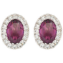 Buy Susan Caplan Vintage 1960s Attwood & Sawyer Silver Plated Swarovski Crystal Clip-On Earrings, Violet Online at johnlewis.com