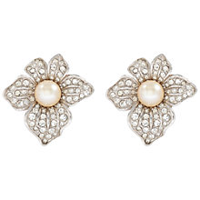 Buy Susan Caplan Vintage 1960s Attwood & Sawyer Silver Plated Faux Pearl Swarovski Crystal Clip-On Earrings, Pearl Online at johnlewis.com