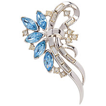 Buy Susan Caplan Vintage 1950s Trifari Swarovski Crystal Bow Brooch, Silver / Blue Online at johnlewis.com