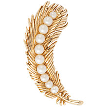 Buy Susan Caplan Vintage 1960s Trifari Textured Feather Brooch, Gold / Pearl Online at johnlewis.com