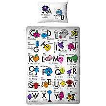 Buy Mr Men Alphabet Single Duvet Cover and Pillowcase Set Online at johnlewis.com