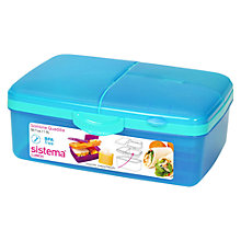 Buy Sistema Slimline Quaddie Lunch Box, Aqua Online at johnlewis.com