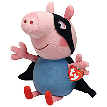 Buy Ty Peppa Pig George Superhero Soft Toy, 23cm Online at johnlewis.com