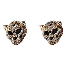 Buy Adele Marie Leopard Head Earrings, Gold/White/Black Online at johnlewis.com