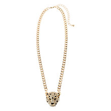 Buy Adele Marie Leopard Head Pendant, Gold/White Online at johnlewis.com