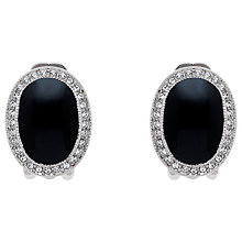Buy Finesse Rhodium Plated Swarovski Crystal Enamel Oval Clip-On Earrings, Silver Online at johnlewis.com