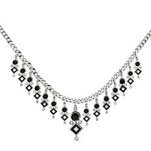 Buy Finesse Rhodium Plated Swarovski Crystal Enamel Collar, Black / Silver Online at johnlewis.com