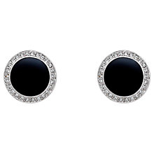 Buy Finesse Silver Plated Swarovski Crystal Enamel Clip-On Earrings, Silver Online at johnlewis.com