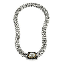 Buy Adele Marie Two Tone Mesh Pearl Necklace, SIiver Online at johnlewis.com