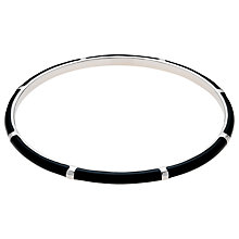 Buy Finesse Rhodium & Enamel Bangle, Black Online at johnlewis.com