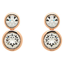 Buy Finesse Double Swarovski Crystal Stud Earrings, Rose Gold Online at johnlewis.com