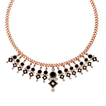 Buy Finesse Swarovski Crystal & Enamel Collar Necklace, Rose Gold Online at johnlewis.com