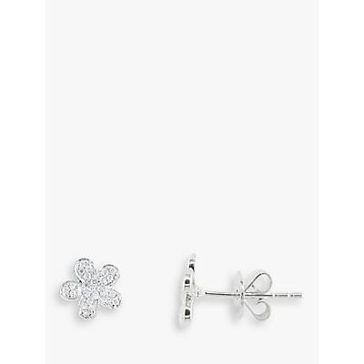 EWA 18ct White Gold Diamond Flower Stud Earrings, White Gold