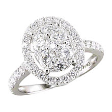 Buy EWA 18ct White Gold 1.30ct Oval Diamond Cluster Ring, Size N Online at johnlewis.com