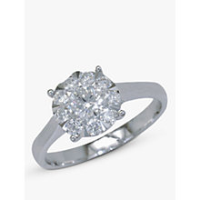 Buy EWA 18ct White Gold Diamond Illusion Set Claw 52 Ring, White Gold Online at johnlewis.com