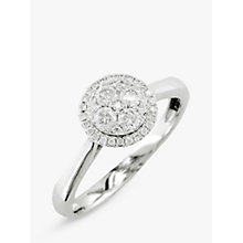 Buy EWA 18ct White Gold Diamond Cluster Engagement Ring, White Gold Online at johnlewis.com